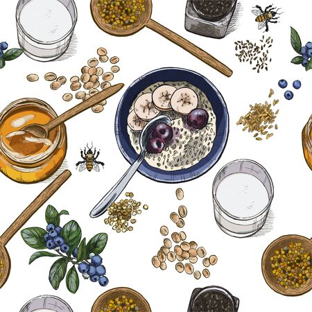 Superfood breakfast top view. Seamless botanical pattern, Realistic full color vector sketch illustration.