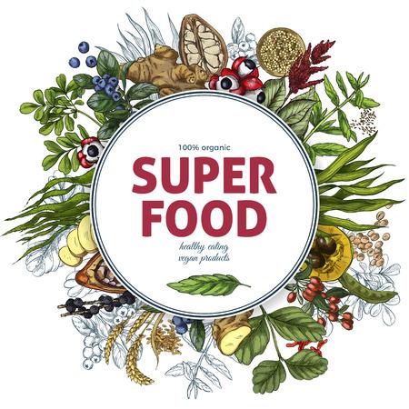 Superfood round banner, full color realistic sketch vector illustration, vegan healthy food design. Kelp, cacao, ginger, moringa, blueberry, goji, stevia, seeds, grain. Stock Vector - 83220179