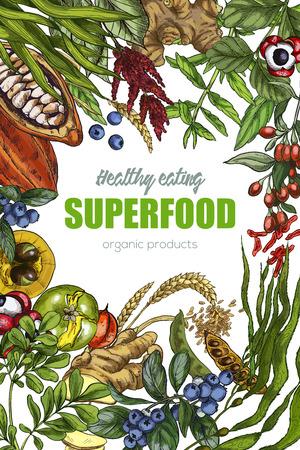 Superfood, realistic sketch frame design for vegan cafe or restaurant. Hand drawn vector illustration. Kelp, cacao, ginger, moringa, blueberry, goji, stevia, seeds, grain.