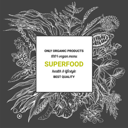 Superfood square banner,sketch vector illustration on dark background, vegan healthy food design. Kelp, cacao, ginger, moringa, blueberry, goji, stevia, seeds, grain.