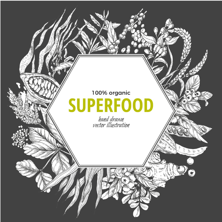 Superfood hexagon banner, sketch vector illustration on dark background, vegan healthy food design. Kelp, cacao, ginger, moringa, blueberry, goji, stevia, seeds, grain.