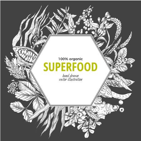 Superfood hexagon banner, sketch vector illustration on dark background, vegan healthy food design. Kelp, cacao, ginger, moringa, blueberry, goji, stevia, seeds, grain. Stock Vector - 83220224
