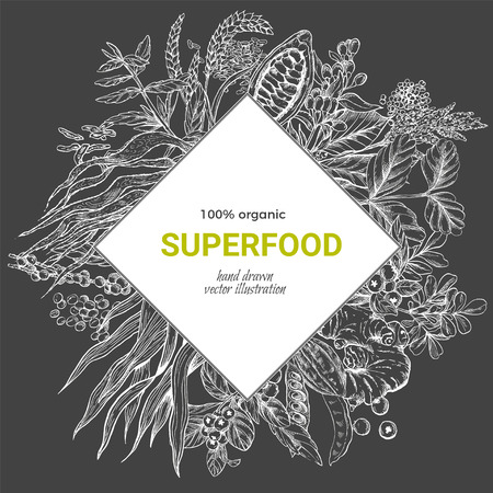 Superfood rhombus banner, realistic sketch vector illustration on dark background, vegan healthy food design. Kelp, cacao, ginger, moringa, blueberry, goji, stevia, seeds, grain. Illustration