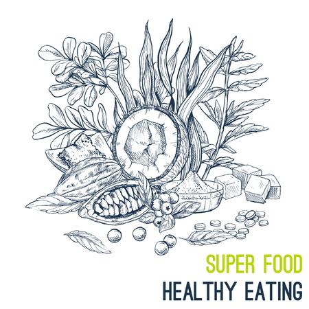 Superfood 포스터, 손으로 그린 된 벡터 스케치 그림. 채식주의 자의 카페 디자인. 일러스트