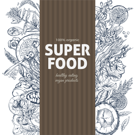 Vertical banner with superfood sketch objects. Realistic vector illustration, vegan healthy food design. Kelp, cacao, ginger, moringa, blueberry, goji, stevia, seeds, grain. Illustration