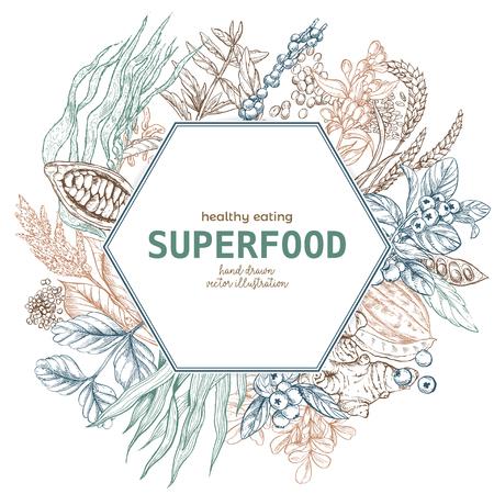 Superfood hexagon banner, color sketch vector illustration, vegan healthy food design. Kelp, cacao, ginger, moringa, blueberry, goji, stevia, seeds, grain.