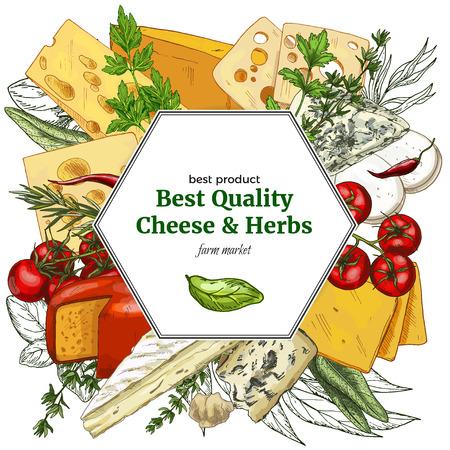 フルカラー現実的なチーズ バナー、手描きベクター スケッチ図、ポスター デザインのレストラン。