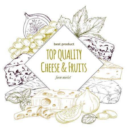 치즈 배너, 손으로 그린 컬러 벡터 스케치 그림, 레스토랑 포스터 디자인. 일러스트