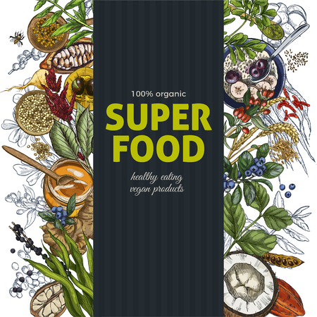 Vertical banner with full color realistic superfood sketch objects. Realistic vector illustration, vegan healthy food design. Kelp, cacao, ginger, moringa, blueberry, goji, stevia, seeds, grain.