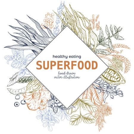 Superfood rhombus banner, color vector illustration, vegan healthy food design. Kelp, cacao, ginger, moringa, blueberry, goji, stevia, seeds, grain.