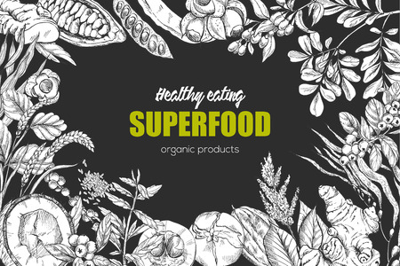 Superfood, realistic sketch frame design for vegan cafe or restaurant. Hand drawn vector illustration. Kelp, cacao, ginger, moringa, blueberry, goji, stevia, seeds, grain. Stock Vector - 83220265