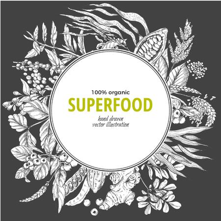 Superfood round banner, sketch vector illustration on dark background, vegan healthy food design. Kelp, cacao, ginger, moringa, blueberry, goji, stevia, seeds, grain.