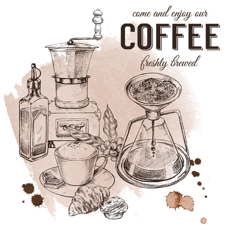 Decorative coffee poster, vintage engraved hand drawn vector illustration, with watercolor coffee stains and drops on background. Illustration