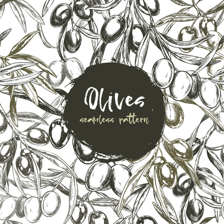Olive branches, hand-drawn engraving vector illustration.