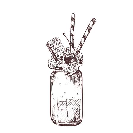 Vector hand drawn milkshake vector Illustration with waffles. Sketch vintage engraving style. Design template.
