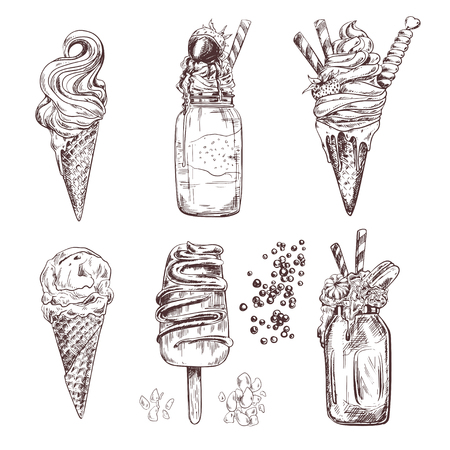 Ice cream illustrations of frozen creamy desserts, gelato, ice cream in cones, eskimo or chocolate glaze sundae with almond and topping, whipped cream and shakes, fresh ice cream scoops in glass bowl, retro design for dessert menu, recipe book, sweet food