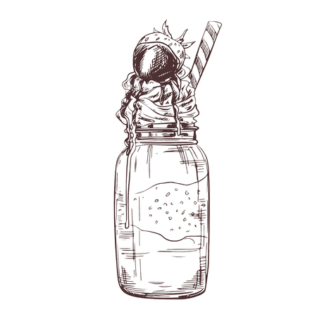 Vector hand drawn milkshake Illustration decorated with chocolate and strawberry. Sketch vintage engraved style. Design template.
