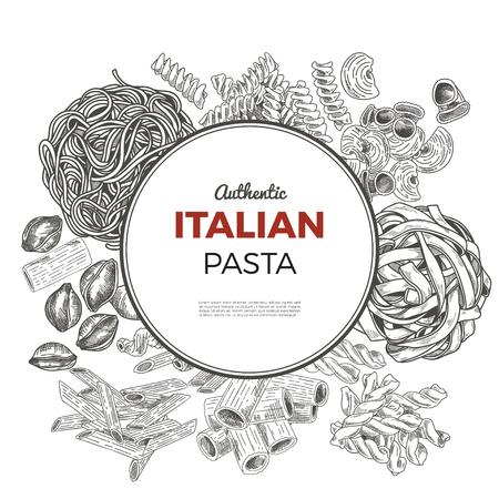 Round poster with hand drawn pasta. Vintage sketch vector illustration. Restaurant menu design.