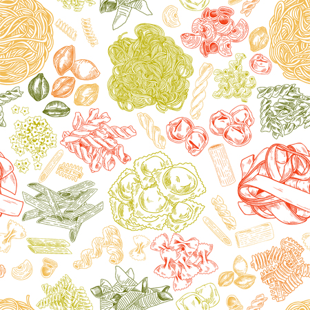 Hand drawn pasta seamless pattern, vintage vector illustration. Color elements on white background