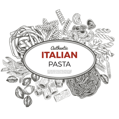 Sketch pasta banner, vector hand drawn illustration. Oval banner, poster, menu template