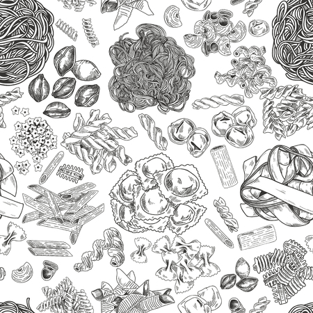 Hand drawn pasta seamless pattern, vintage vector illustration. Ink graphic on white background. Иллюстрация