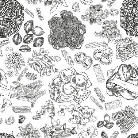 Hand drawn pasta seamless pattern, vintage vector illustration. Ink graphic on white background. Illustration