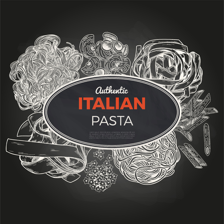 Sketch pasta banner, vector hand drawn illustration. Chalkboard background. Oval banner, poster, menu template