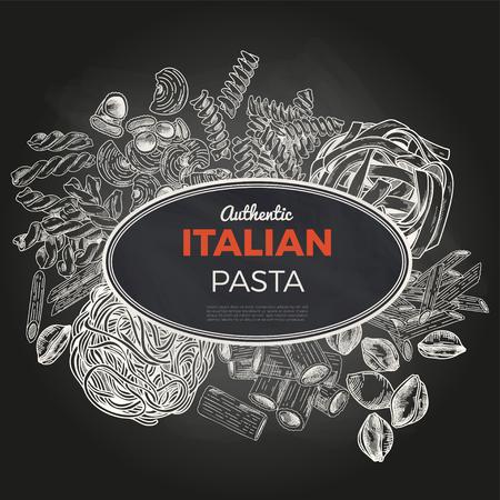 Sketch pasta banner, vector hand drawn illustration. Chalkboard background. Oval banner, poster, menu template
