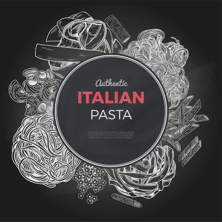 Sketch pasta banner, vector hand drawn illustration. Chalkboard background. Round banner, poster, menu template Illustration