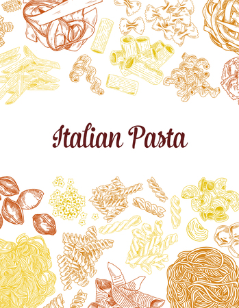 Colored hand drawn pasta elements, vintage vector poster. Detailed sketch illustrations.