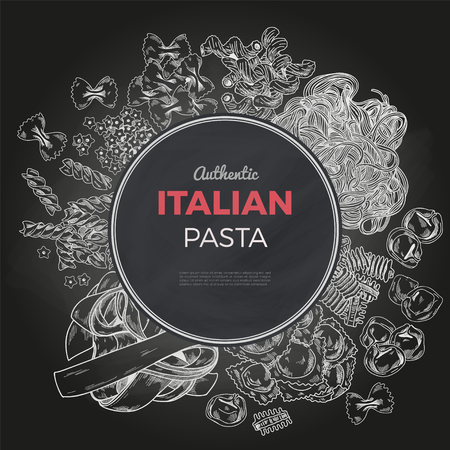 Sketch pasta banner, vector hand drawn illustration. Chalkboard background. Round banner, poster, menu template Ilustração