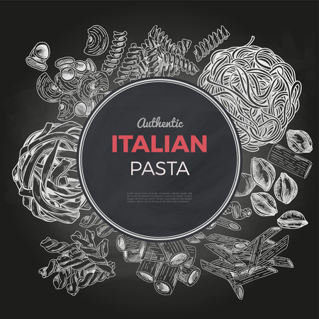 Sketch pasta banner, vector hand drawn illustration. Chalkboard background. Round banner, poster, menu template Иллюстрация