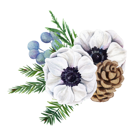 floral watercolor arrangement with anemones and cone, hand drawn illustration Stock Photo