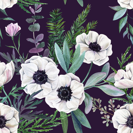 White anemones and leaves on purple background. Watercolor seamless pattern, full color, hand drawn illustration.