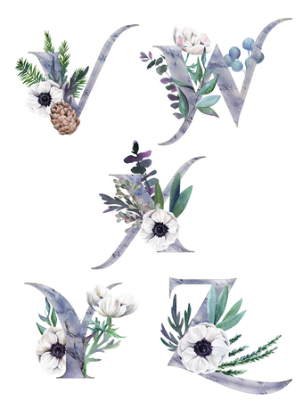 V, W, X, Y, Z. Decorative floral alphabet with silver letters and watercolor botanical decoration. Фото со стока