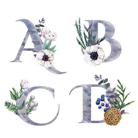 A,B, C,D. Decorative floral alphabet with silver letters and watercolor botanical decoration. Фото со стока