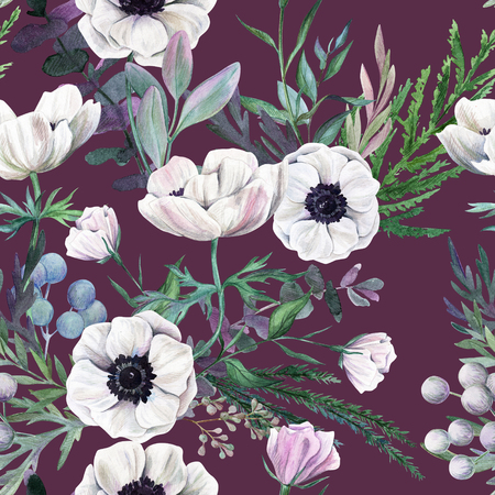 White anemones and leaves on light purple background. Watercolor seamless pattern, full color, hand drawn illustration.