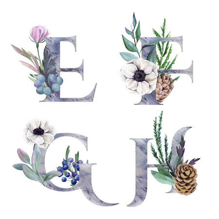 E, F, G, H. Decorative floral alphabet with silver letters and watercolor botanical decoration. Фото со стока