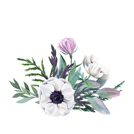 floral watercolor arrangement with anemone, hand drawn illustration