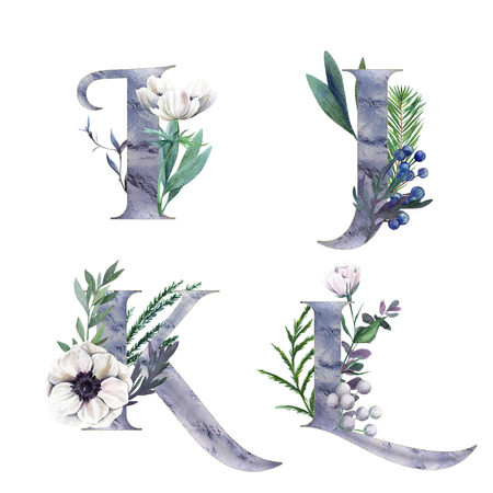 I, J, K, L. Decorative floral alphabet with silver letters and watercolor botanical decoration.