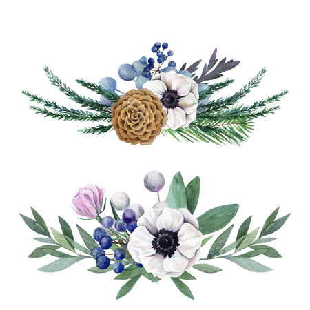 two horizontal floral watercolor arrangements, hand drawn illustration