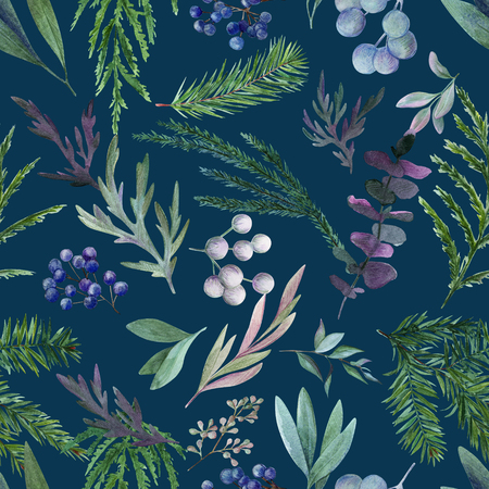 Leaves, conifer and berries on deep navy blue background. Watercolor seamless pattern, full color, hand drawn illustration.