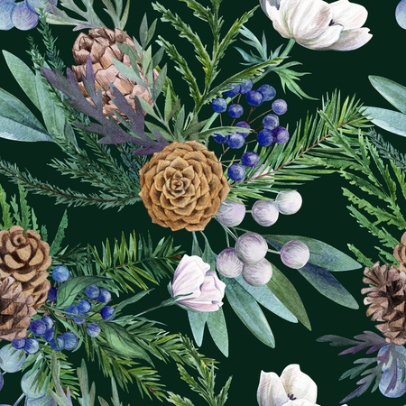Conifer, cones, anemones and berries. Watercolor seamless pattern, full color, hand drawn illustration.
