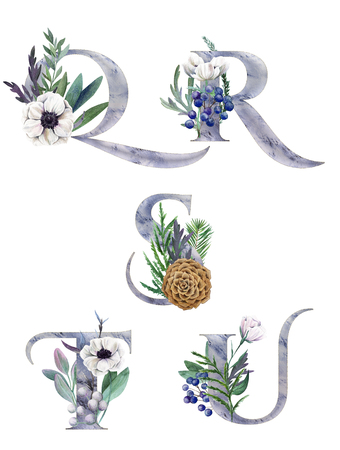 Q, R, S, T, U. Decorative floral alphabet with silver letters and watercolor botanical decoration. Фото со стока