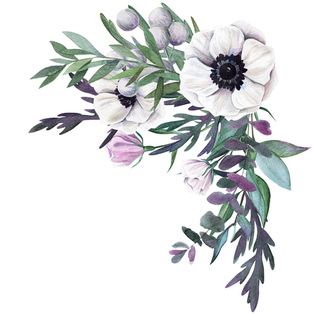 Corner floral watercolor arrangement with anemone, hand drawn illustration