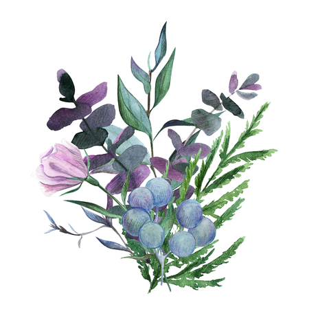 Bouquet, floral watercolor arrangement, hand drawn illustration