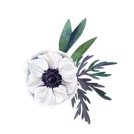 Small floral watercolor arrangement, hand drawn illustration Stock Photo