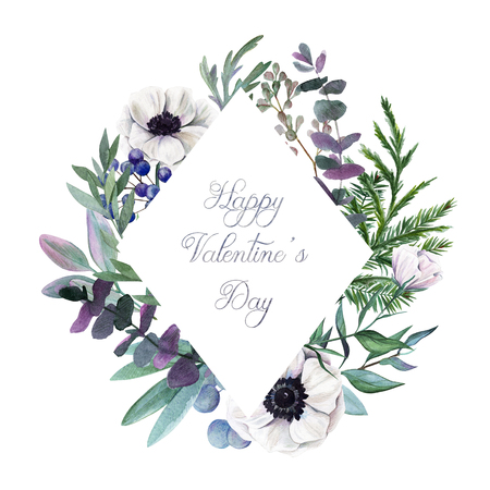 Happy Valentines Day. Greeting card with hand drawn watercolor floral elements.