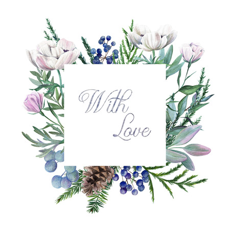 With Love. Greeting card with hand drawn watercolor floral elements.