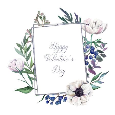 Happy Valentines day! Greeting card with hand drawn watercolor floral elements.